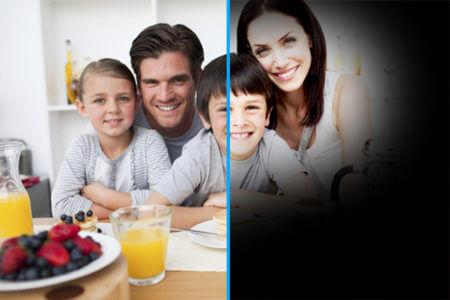 семья за столом которую из за глаукомы плохо видно