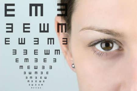 женщина и таблица для проверки зрения