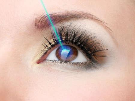 Луч лазера, направленный в глаз женщины