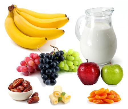 бананы яблоки виноград молоко масло курага финики