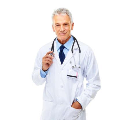 Мужчина врач в белом халате